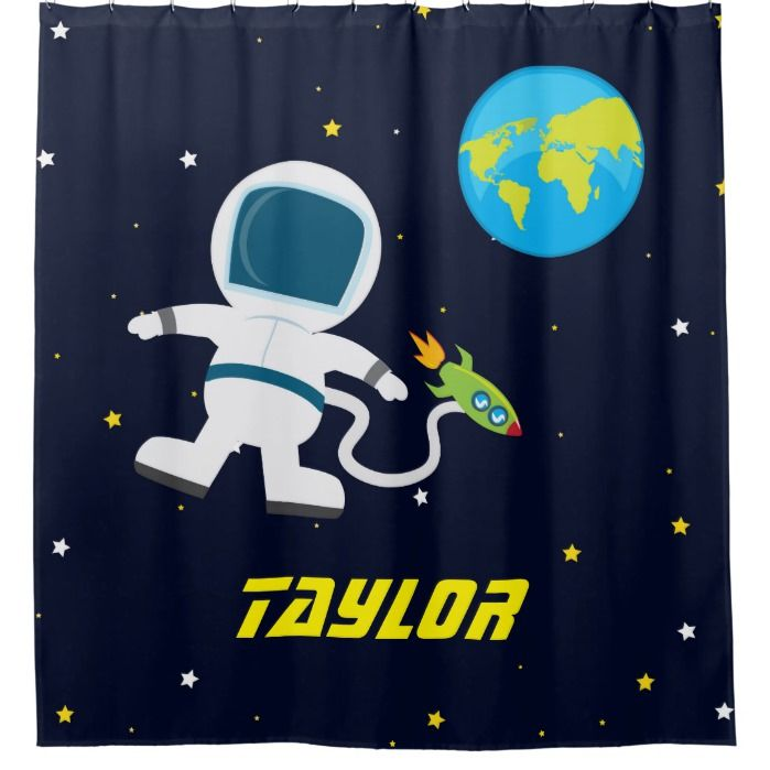 Outer Space Astronaut Kids Shower Curtain Zazzle Com Boys Shower Curtain Astronauts In Space Custom Shower Curtains