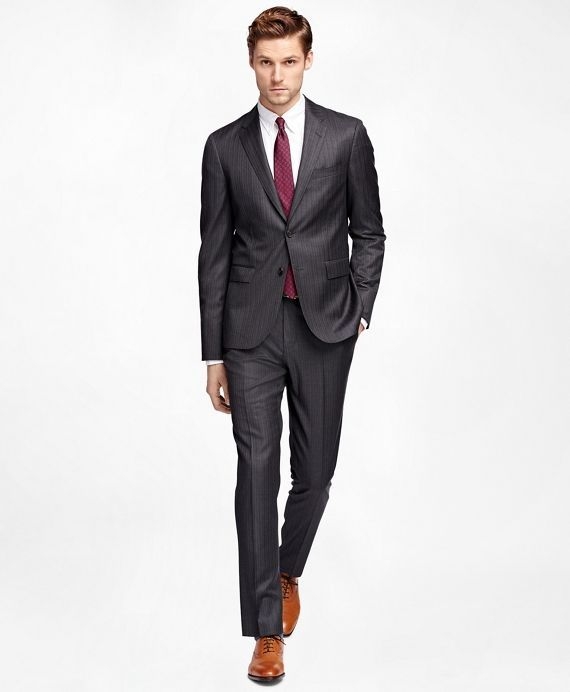 Alternating Stripe Suit JacketCharcoal