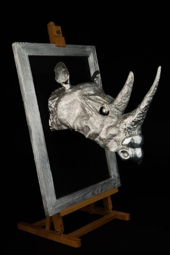 Aluminium  hand forged wall mounted Black Rhino head