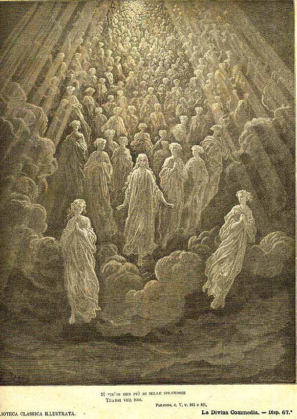 Il Paradiso. Dante ragiona con spiriti. Gustave Doré.