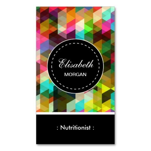 Dietitian Nutritionist- Colorful Mosaic Pattern Business Cards
