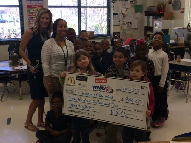 Ms. Kimberly Holland, a kindergarten teacher at Gregory Elementary, was named one of WWAY's Teacher of the Week. Congratulations Ms. Holland.