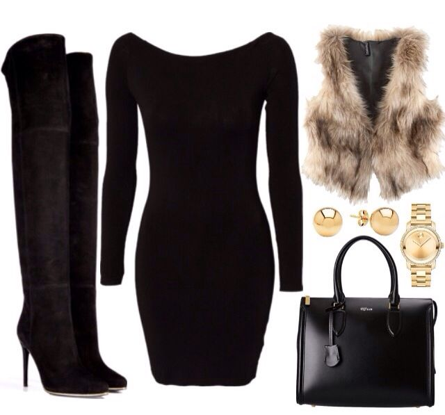 Black dress | thigh high boots | not into the fur part but everything else is awesome!