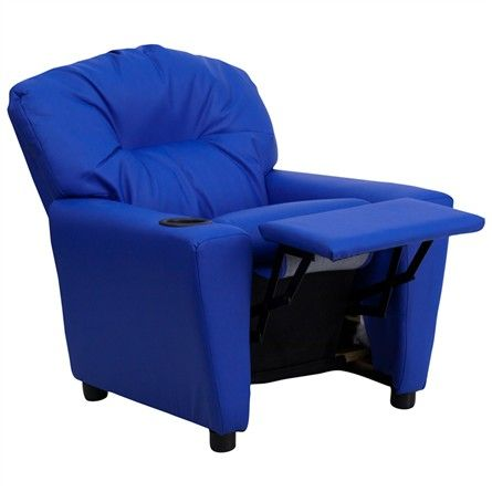 The Modern Kids' Blue Vinyl Recliner with Cup Holder will become your child's favorite perch!