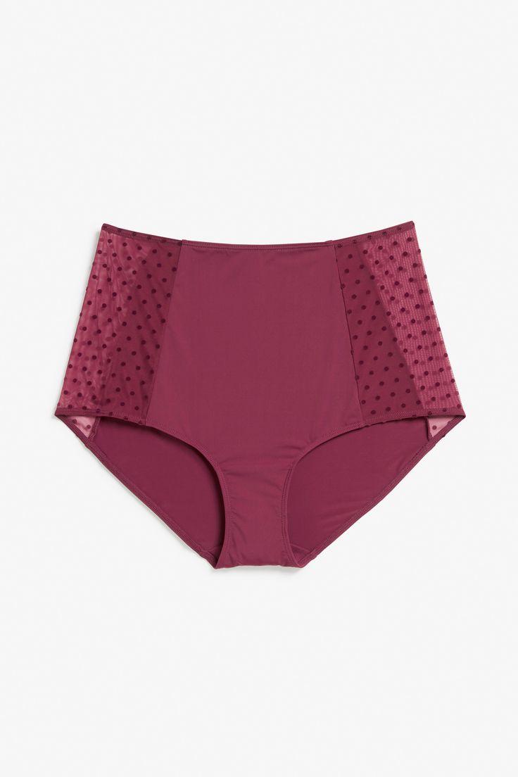 Monki High waist brief in Red Bluish Dark