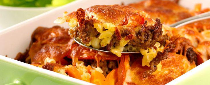 Gratinert kjøttdeig- og makaroniform er en oppskrift som holder det den lover.