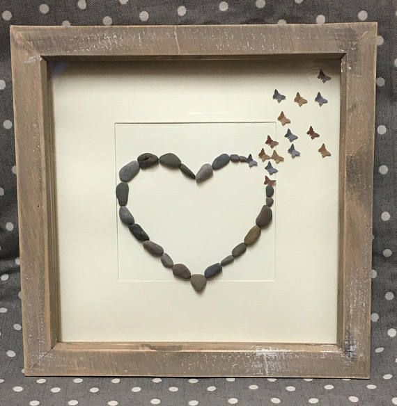 Wedding Gift for Couple, Heart Frame, Valentines Present, Pebble Heart, Personalized Wedding Gift, Gift Girlfriend, Butterflies, Hearts 23cm
