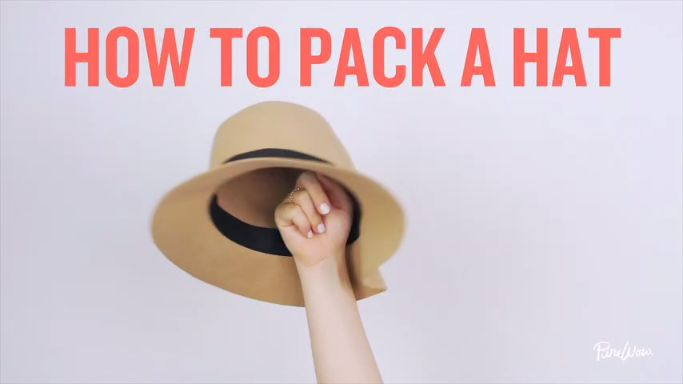 You can't travel without your brand-new sun hat...but you didn't really think through how to pack it into your suitcase. We've got you covered. Watch our simply genius trick for packing a floppy hat without smooshing it.