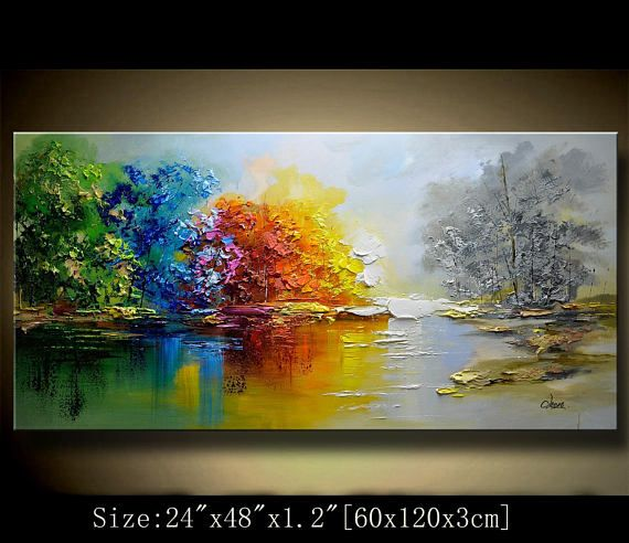 Original Abstract Painting, Modern Textured Painting,Impasto Landscape Textured Modern Palette Knife Painting,Painting on Canvas byChen This painting is definitely a great gift.Its also Perfect choice for home and office decorations. This is an original painting,, 100% hand painted on