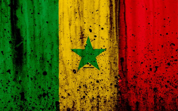 Download wallpapers Senegalese flag, 4k, grunge, flag of Senegal, Africa, Senegal, national symbols, Senegal national flag