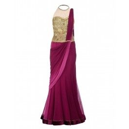 #ExclusivelyIn #ExclusivelyEOSS Wine Lengha Saree with Embroidered Bodice