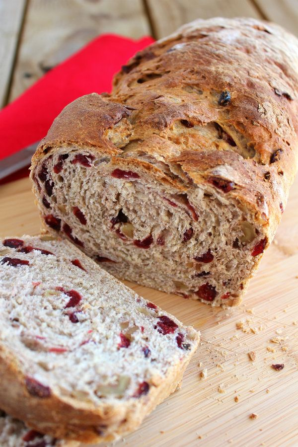 cranberry walnut oat bread - 1 cup plus 2 tablespoons water 1 tablespoon vegetable or canola oil 1/3 cup pure maple syrup 2 teaspoons ground cinnamon 1 teaspoon salt 1 cup old-fashioned oats 3 cups bread flour 2 1/4 teaspoons Red Star Yeast Platinum Superior Baking Yeast 1 cup chopped walnuts 1 cup dried cranberries