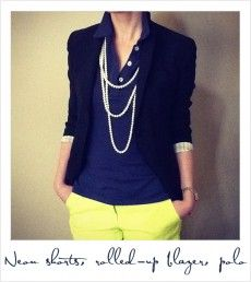 Women's Polo with Blazer and Yellow Pant