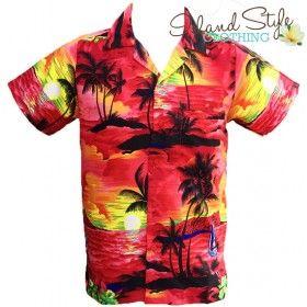 Mens Plus Size Hawaiian Shirt. Red Sunset. Beautiful tropical shirt for the big boys. http://islandstyleclothing.com.au/menswear/hawaiianshirts-plussize