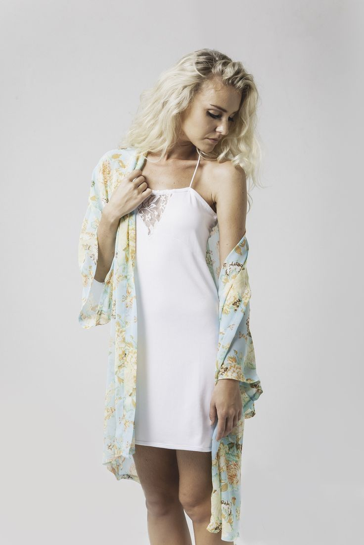 abby printed kimono in mint floral & joanna lace v pj slip in white available now @ marceau.com.au