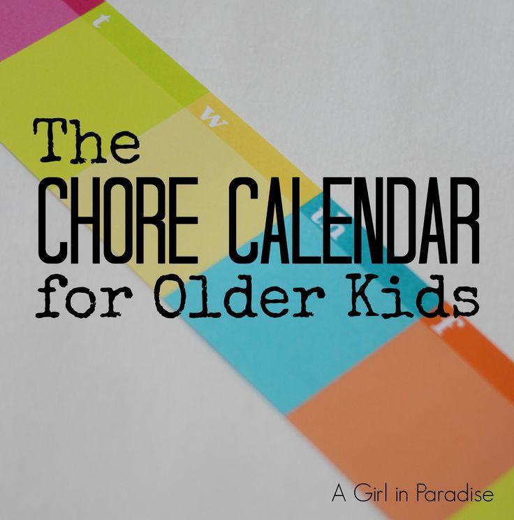 The Chore Calendar for Older Kids