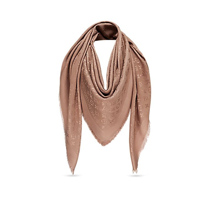 key:product_share_product_facebook_description Monogram Shine Shawlkey:global_colon This sophisticated shawl, woven with a tone-on-tone Monogram pattern, is given a subtle shimmer by the use of a soft shine yarn.