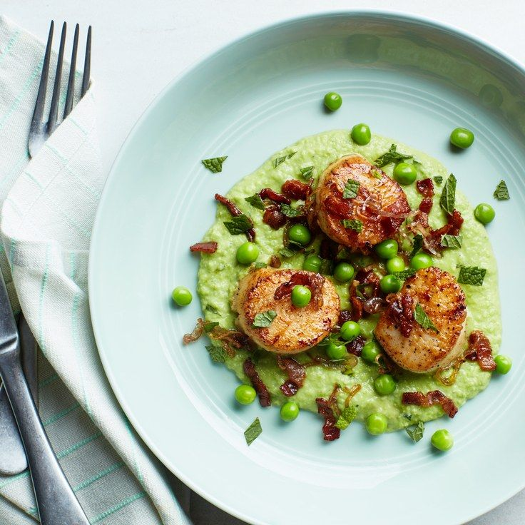 Seared Scallops with Mint, Peas, and Bacon