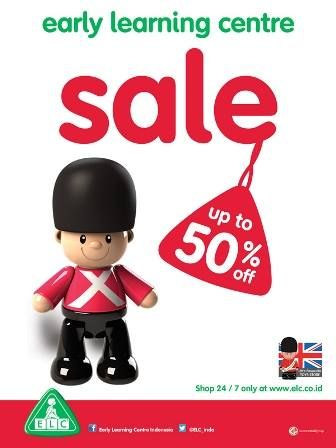 Over 100 toys on SALE up to 50% starts today! Visit ELC store at Kuningan City Level 2