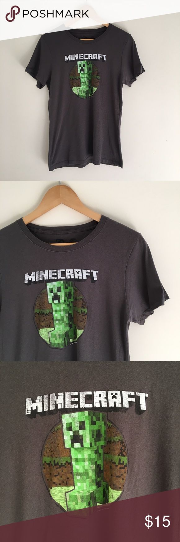 Dark gray/ Black Minecraft t-shirt Dark gray/ Black Minecraft t-shirt. Size XL. Great condition little sign of wear. Price firm but can be bundled for discounts Shirts & Tops Tees - Short Sleeve