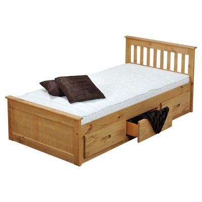Homestead Living Pine Mission Storage Single Bed Frame