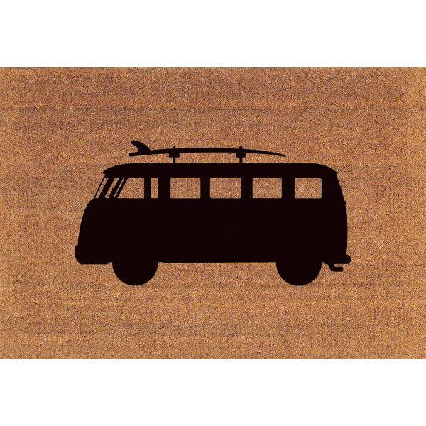 Vw Van With Surfboard Door Mat Coir Doormat Rug 2 X 2 11 (24 Inches X... ($38) ❤ liked on Polyvore featuring home, rugs, brown, floor & rugs, home & living, brown rug, coir outdoor mats, coir rugs, coconut fiber door mats and brown door mat