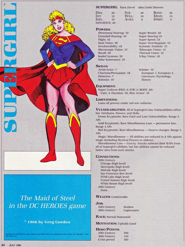 Supergirl, Kara Zor-el, stats for Mayfair's DC Heroes RPG, Greg Gordon, Dragon magazine 111, July 1986