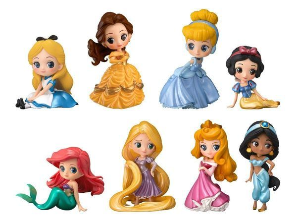 Set of 3 Disney Q posket petit vol.1 Rapunzel Jasmine Tiana Figure BANPRESTO