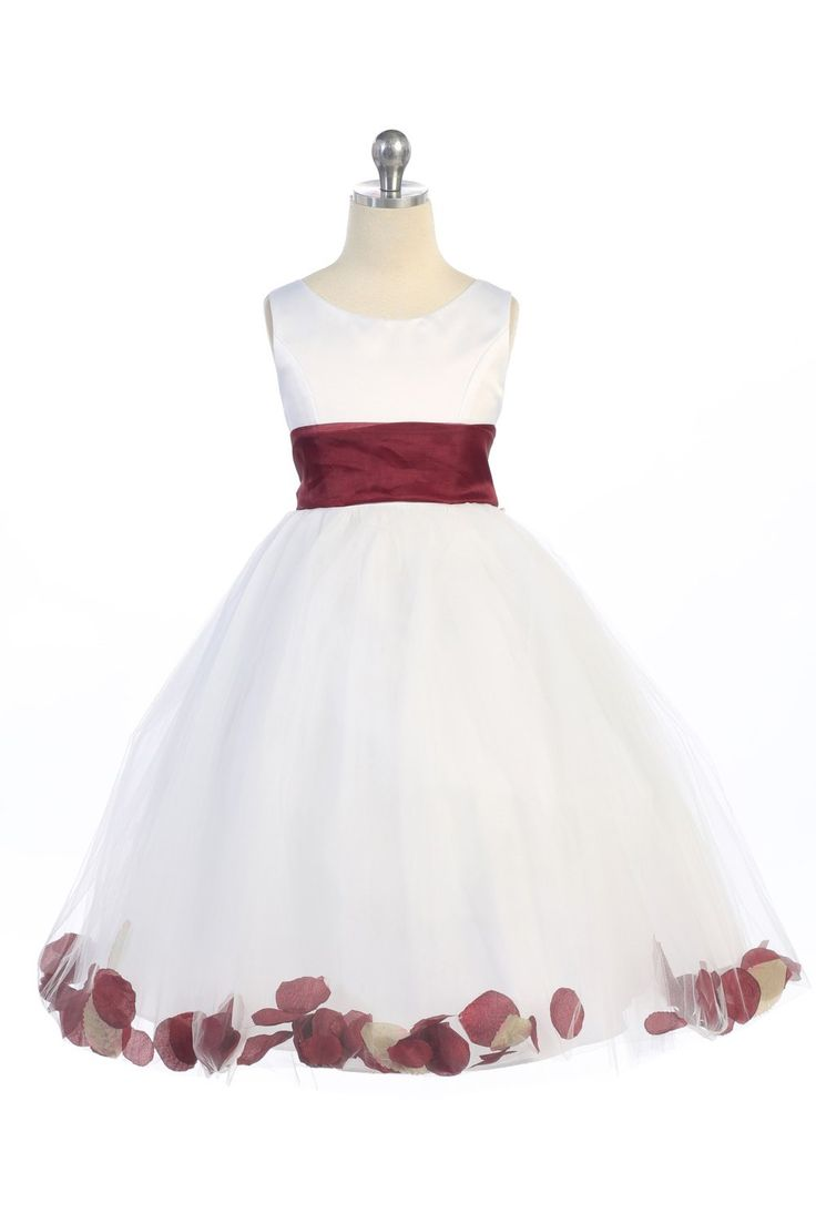 White/Teal Satin & Tulle Flower Girl Dress with Petals & Sash