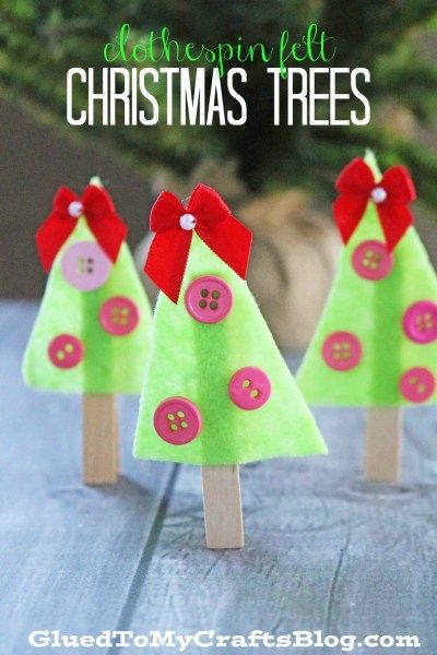 Clothespin Felt Christmas Trees - Kid Craft Idea