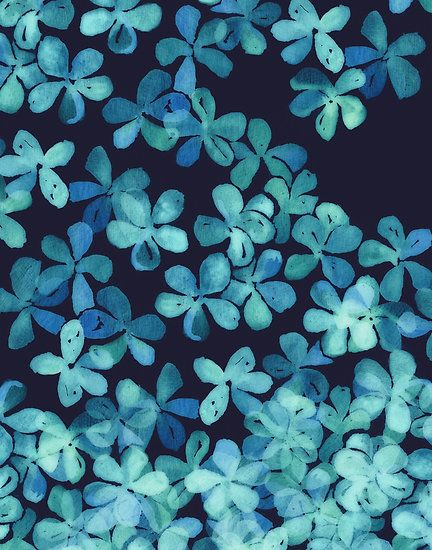 Hand Painted Floral Pattern in Teal & Navy Blue by micklyn ...