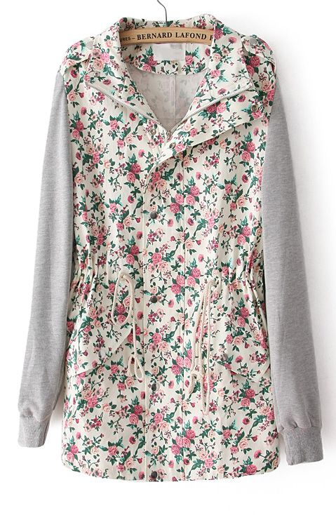 I NEED! Beige Contrast Long Sleeve Floral Drawstring Outerwear - Sheinside.com