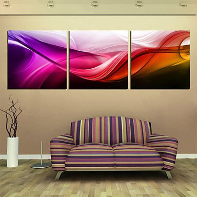 Stretched Canvas Print Art Abstract Red Wave Set of 3 – USD $ 59.99