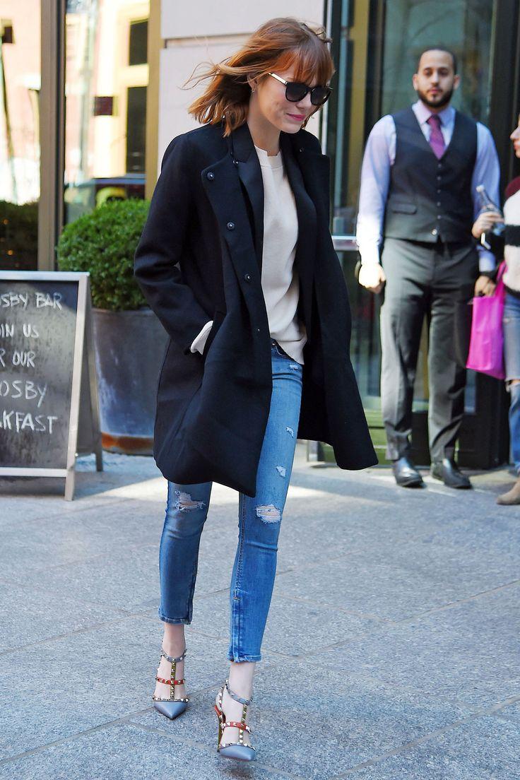 Emma Stone Spider-Man 2 Style - Emma Stone Red Carpet Looks - Harper's BAZAAR.  love those shoes.