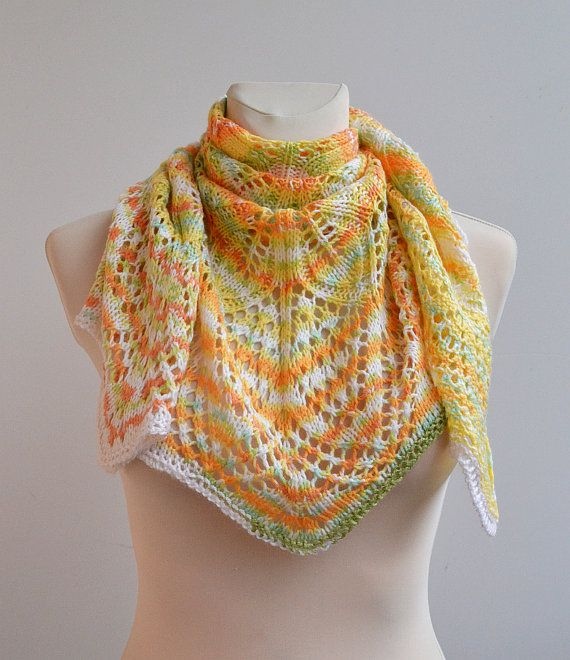 Hand knitted shawl lovely handmade lace chic by DosiakStyle, #knittedshawl, #laceshawl, #handmadescarf