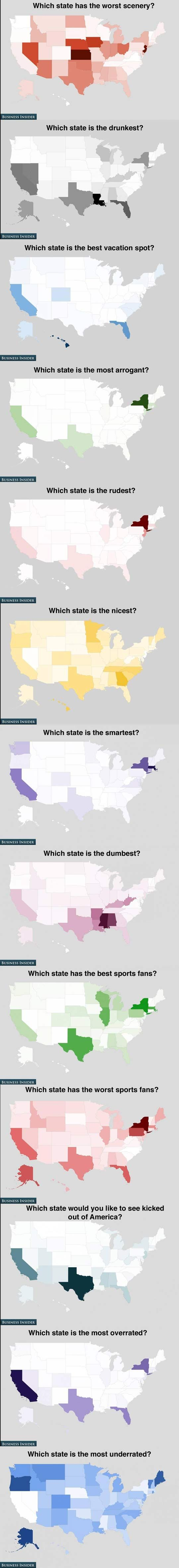 How Americans feel about the states…