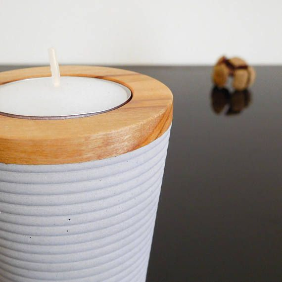 Gift set for her cement tealight holders of concrete and wood