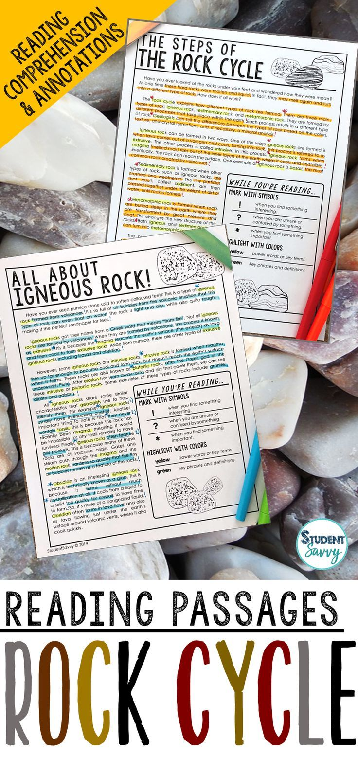 The Rock Cycle Worksheets Reading Comprehension Passages Questions And Annotations This Resource Is Rock Cycle Activity Reading Passages Rock Cycle Project
