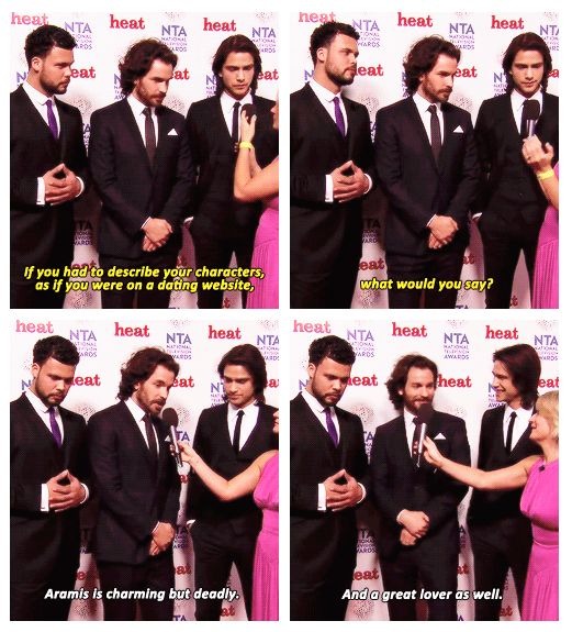 Red carpet interviews with The Musketeers cast at The National Television Awards, 2014. Howie, Santi & Luca.