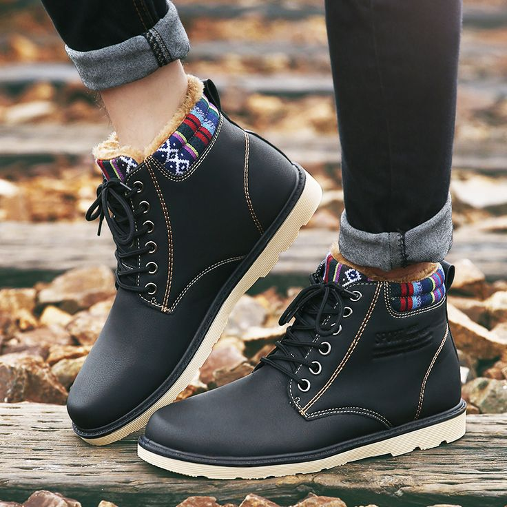 Best winter shoes for men boots waterproof hunter boots wedge shoe ankle booties solid patent leather plush warm shoes