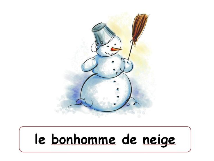 Images and translations of winter words into French.