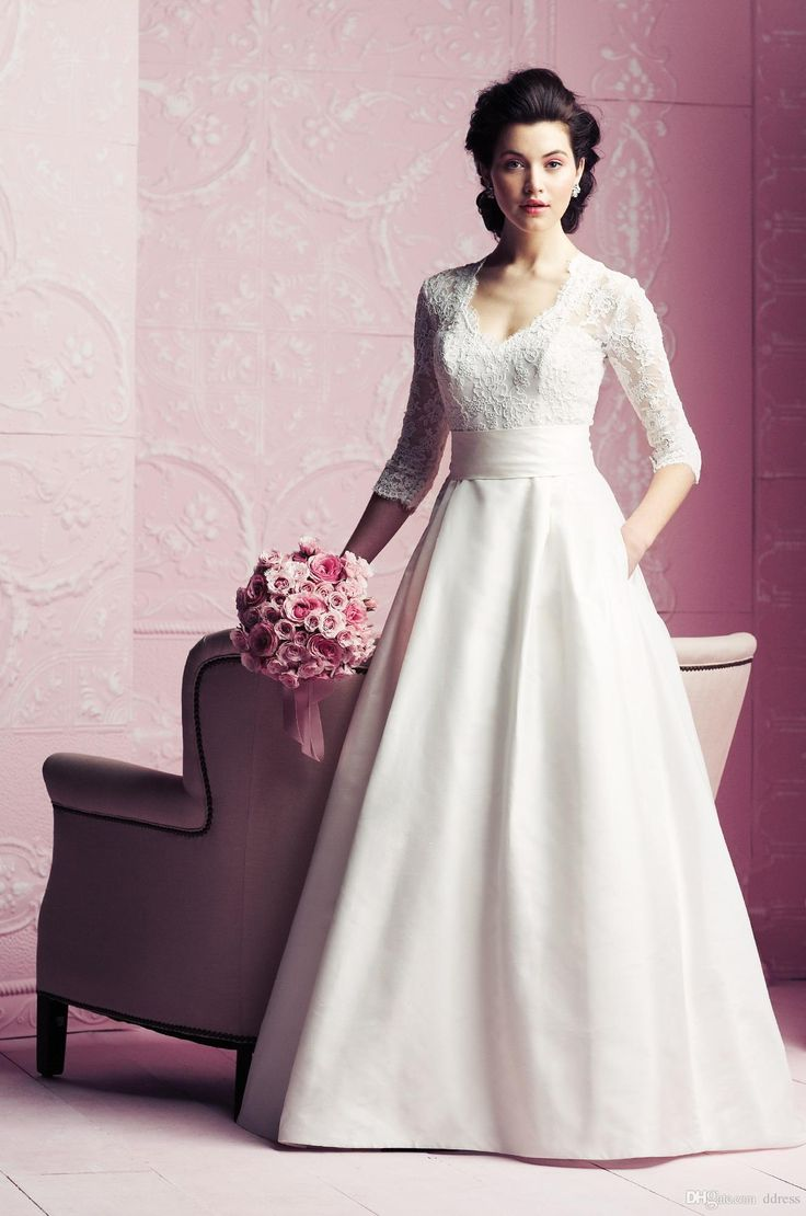 Nice Cheap Sheer Vintage Wedding Dress A Line Lace Sheer Neck Wedding Dress Cap Sleeve Lace Floor Length Hollow Ribbon Court Train Bridal Gowns H As Low As