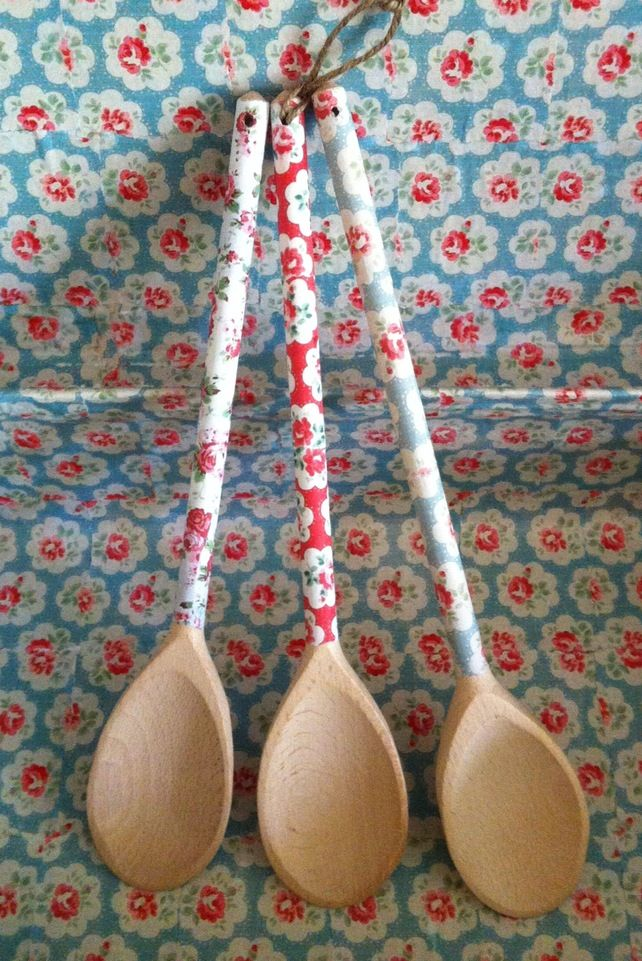 Cath Kidston Floral Wooden Spoon. Could make these with decoupage Cath Kidston paper