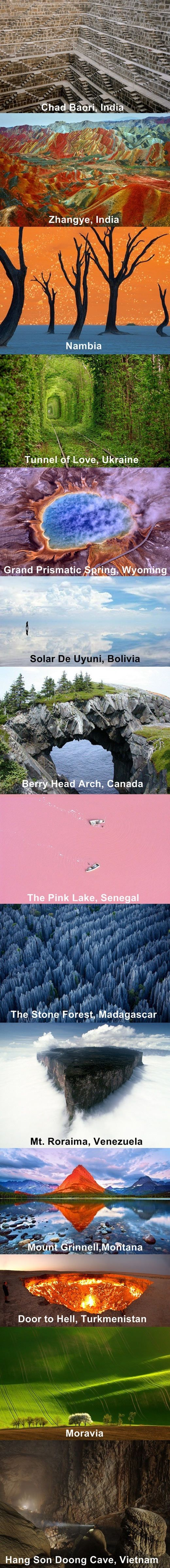 Places on my bucket list.