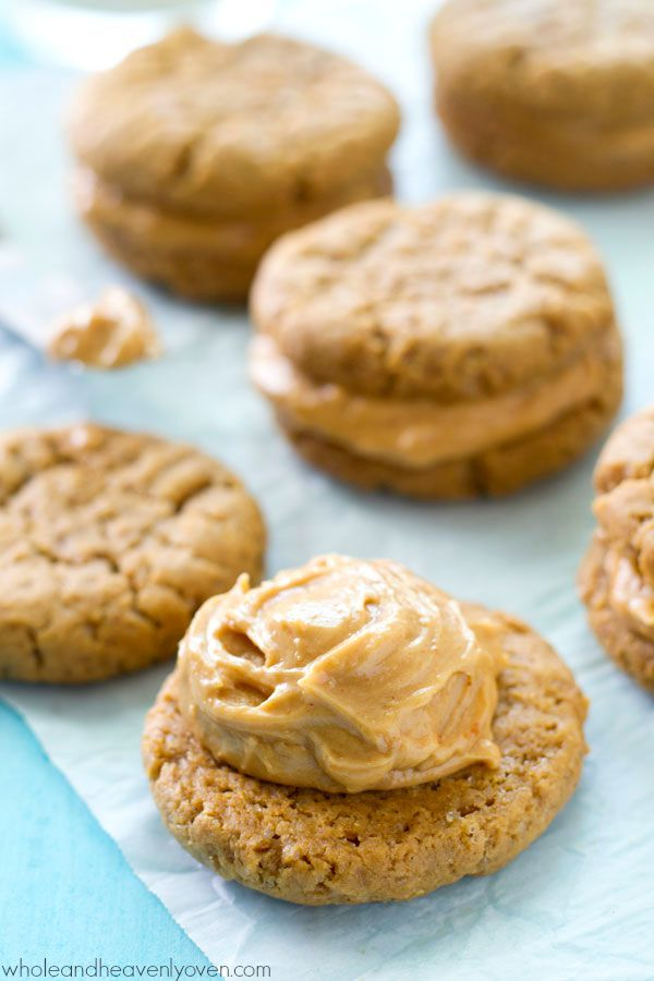 Filled with a luscious peanut butter cream filling and unbelievably easy to whip up, these extra-chewy peanut butter sandwich cookies are totally a peanut butter-lover's dream! @WholeHeavenly                                                                                                                                                                                 More