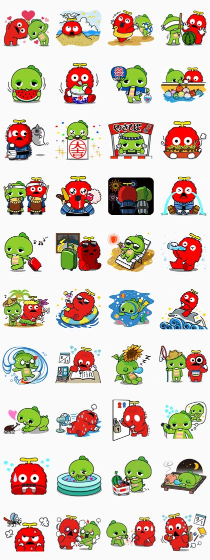 Gachapin & Mukku: Summer Special Line Sticker - Rumors City