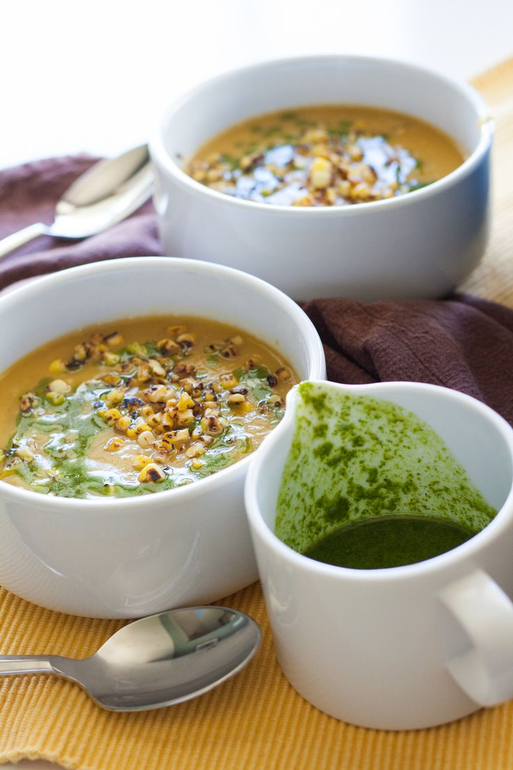 delicata squash soup with charred corn and cilantro oil: