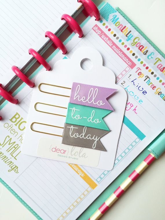 Planner Paper Clips Planner Bookmarks Planner by DearLolaStudio