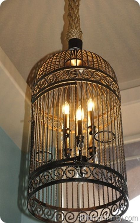 chandelier made from old bird cage!