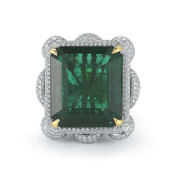 24.54 CTS NATURAL ZAMBIAN EMERALD-CUT EMERALD & DIAMOND RING WITH GIA CERTIFIED #Takat #Journey